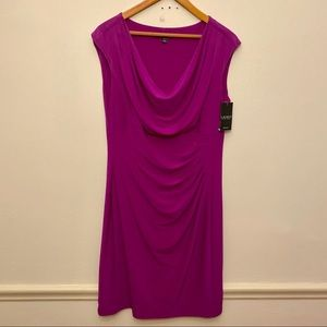 Ralph Lauren NEW NWT Cowl PLUS Dress Pink 16
